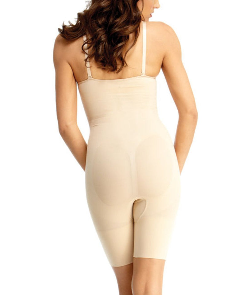 SlimMe by MeMoi Bodysuit Shaper w/ Underwire & Thigh Control | Women's Top Shapewear Waist Cinchers Bodysuits (Rear) | Nude MSM-153