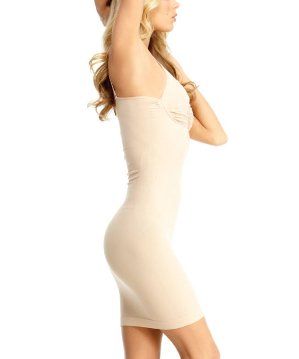 Shaping Slip w/Adjustable Straps & Underwire Waist Cinchers - MeMoi -Shapewear- Nude-