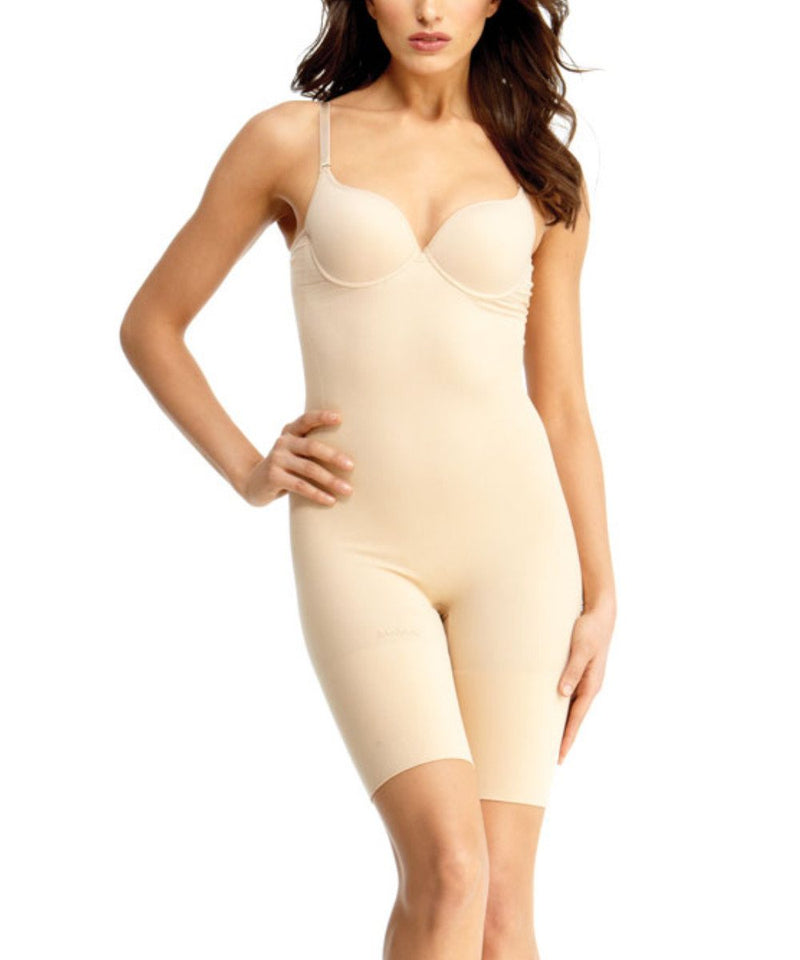 Bodysuit w/Thigh Shaper/Underwire Padded-Bra Waist Cinchers - MeMoi -Shapewear- Nude-