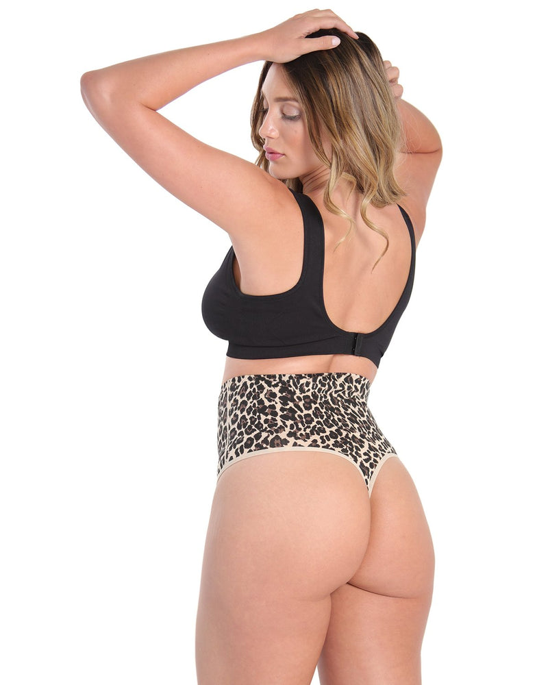 High-Waist Shaping Thong w/ Tummy Control | SlimMe Shapewear by MeMoi | MSM-104 Nude Leopard Shapewear