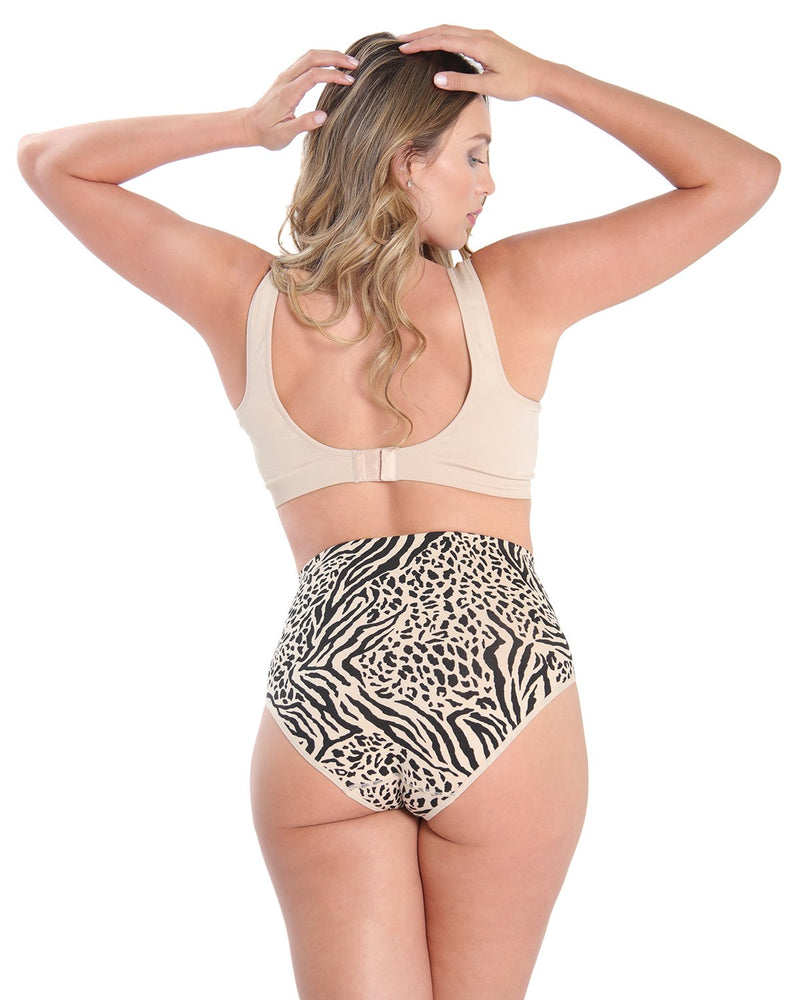 High-Waisted Shaper Panties - SlimMe by MeMoi- -Shapewear- Animal Print back