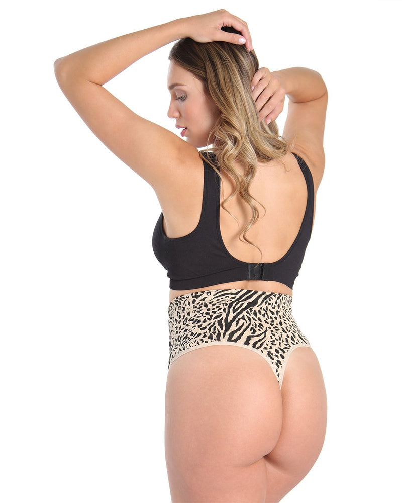 High-Waist Shaping Thong w/ Tummy Control | SlimMe Shapewear by MeMoi | MSM-104 Nude Animal Craze Shapewear