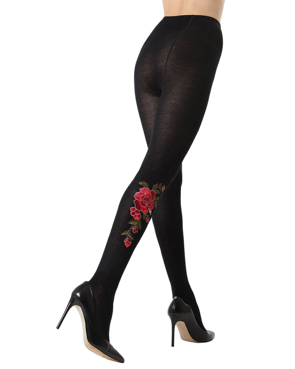 Dimensional Floral Embroidered Tights | Opaque Sweater Tights by MeMoi | Black MTF02215 - Rear