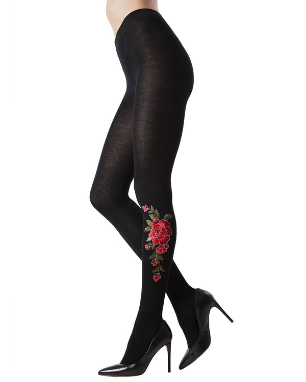 Dimensional Floral Embroidered Tights | Opaque Sweater Tights by MeMoi | Black MTF02215 - Side