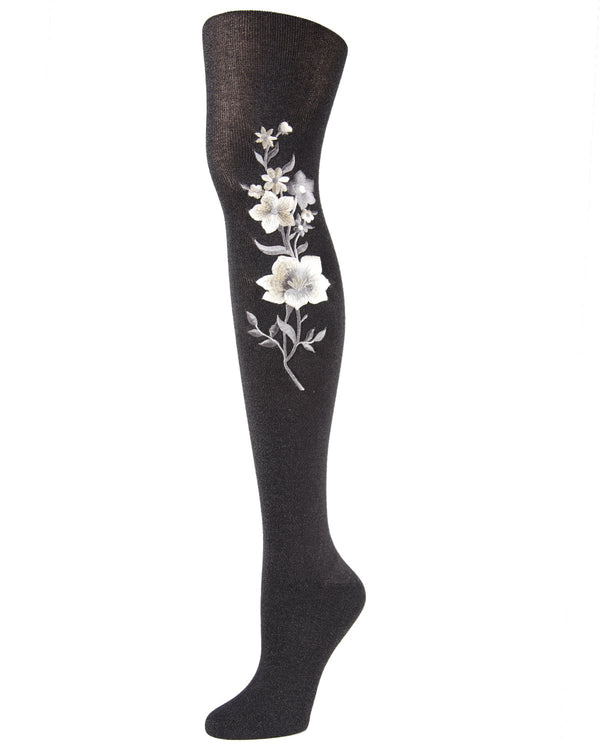MeMoi Deco Floral Embroidered Tights | Women's Premium Fashion Pantyhose for Women | Top Women Hosiery MTF02216