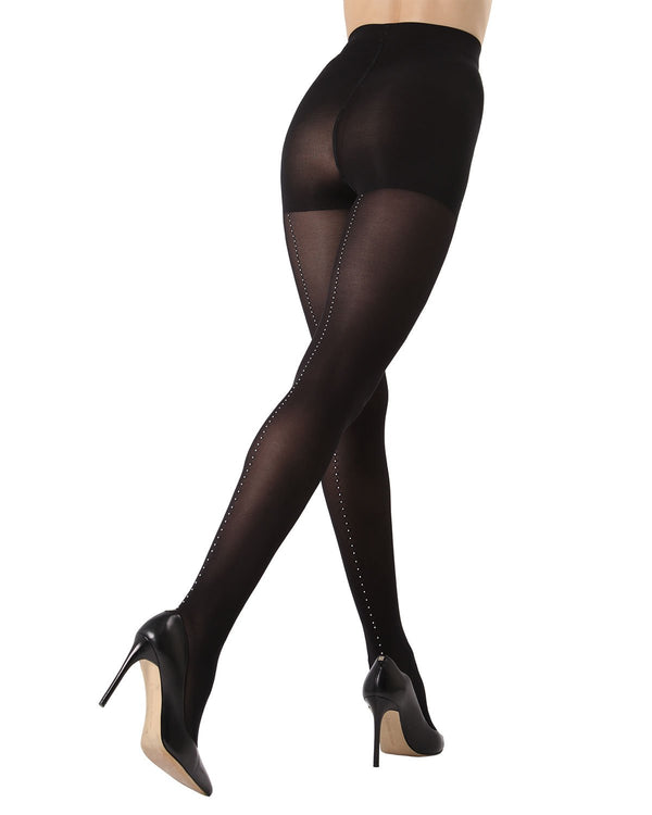 MeMoi Rhinestone Backseam Opaque Tights | Women's Fashion Hosiery - Pantyhose - Nylons Collection (rear)  | Black MTF02228