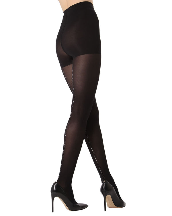 MeMoi Rhinestone Backseam Opaque Tights | Women's Fashion Hosiery - Pantyhose - Nylons Collection (side)  | Black MTF02228