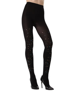 MeMoi Constellation Embellished Opaque Tights | Women's Fashion Hosiery - Pantyhose - Nylons Collection (front) | Black MTF02229