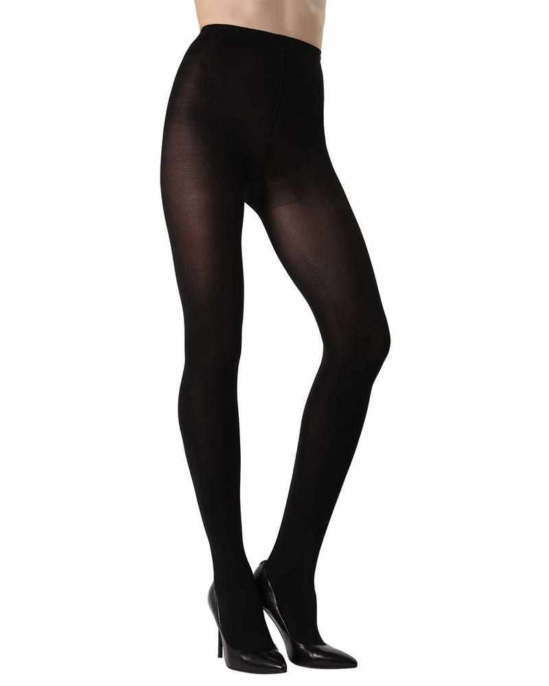 MeMoi Velvet Seam Opaque Tights | Women's Fashion Hosiery - Pantyhose - Nylons Collection (Front) | Black MTF02230