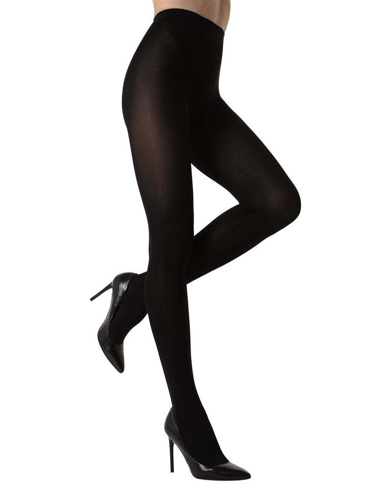 MeMoi Velvet Seam Opaque Tights | Women's Fashion Hosiery - Pantyhose - Nylons Collection (Side) | Black MTF02230