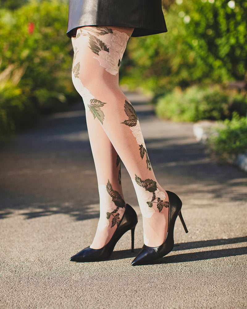 Sheer Garden Rose Tights
