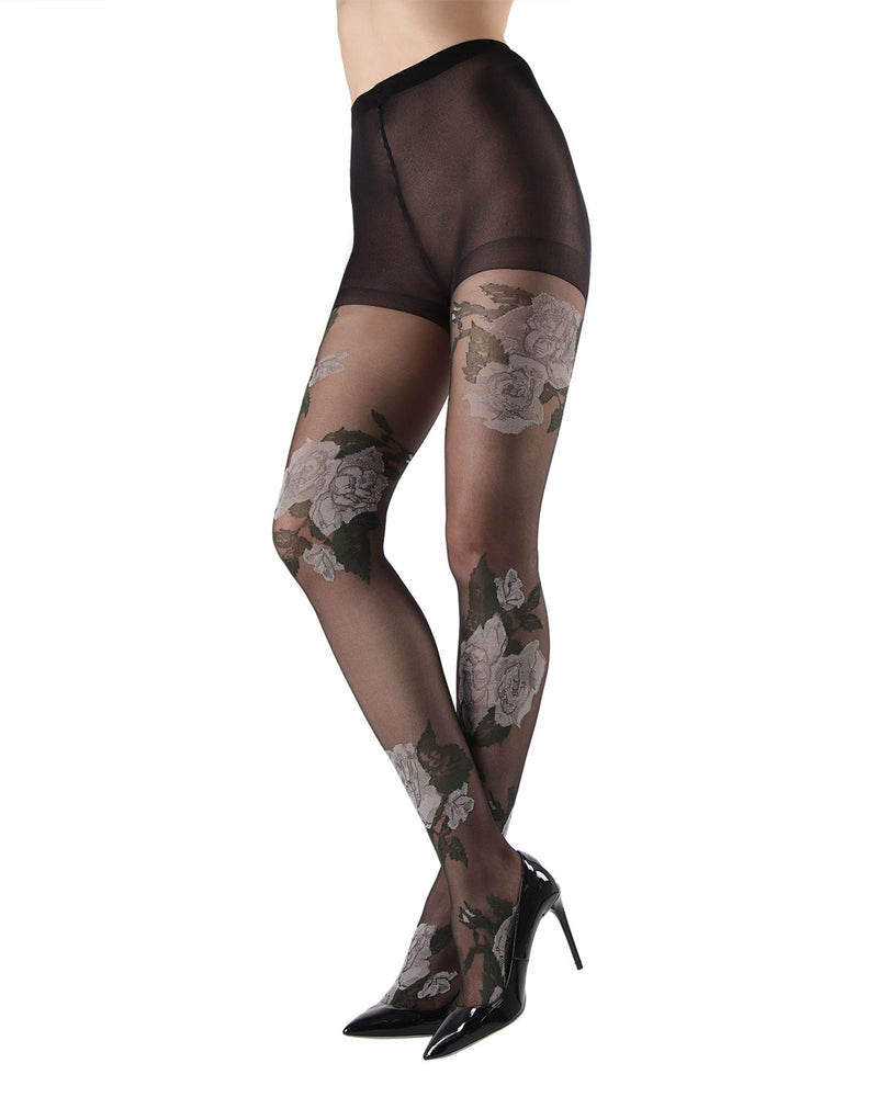 Sheer Garden Rose Tights | MeMoi Women's Floral Hosiery - Pantyhose - Nylons | womens clothing | Black MTF04548 - 1