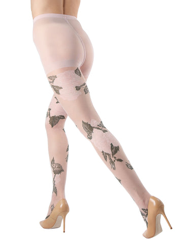 Sheer Garden Rose Tights | MeMoi Women's Floral Hosiery - Pantyhose - Nylons | womens clothing | Blush MTF04548 - 1