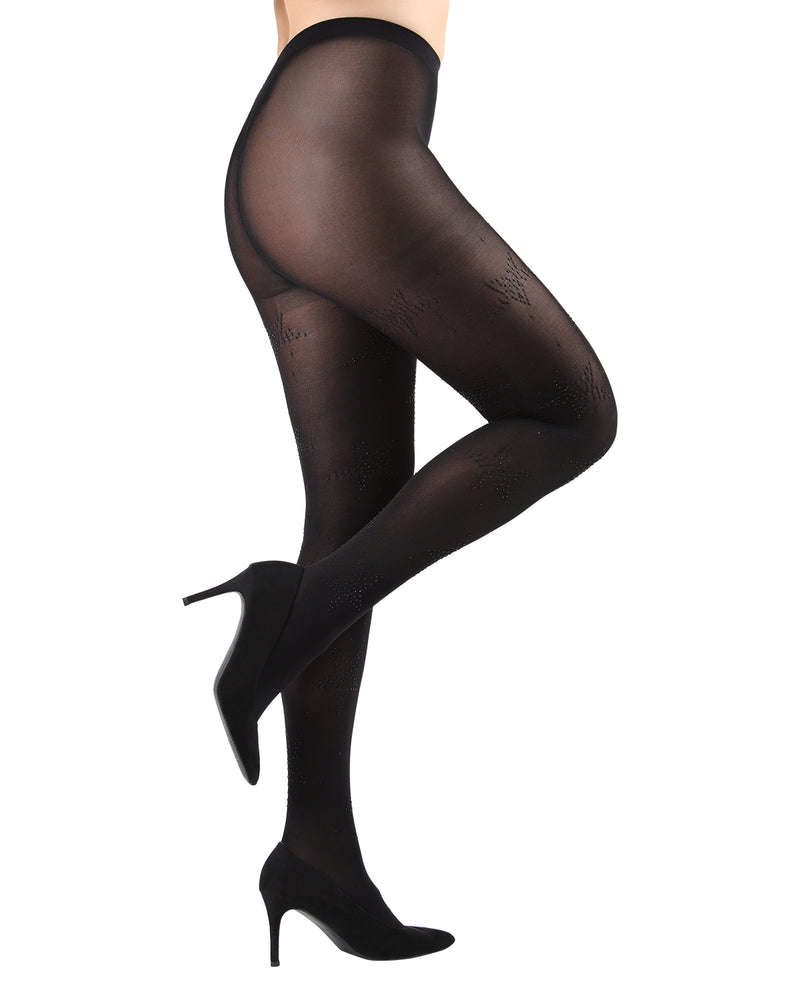 Stella Noir Opaque Tights | Black Fashion Opaque tights for Women | Womens Pantyhose |  MTF05355 - black