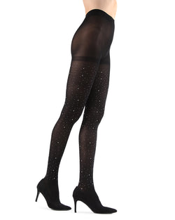 Rock The Night Opaque Tights | Black Fashion Opaque Tights for Women | MeMoi Womens Pantyhose |  MTF05366 - Black - 1