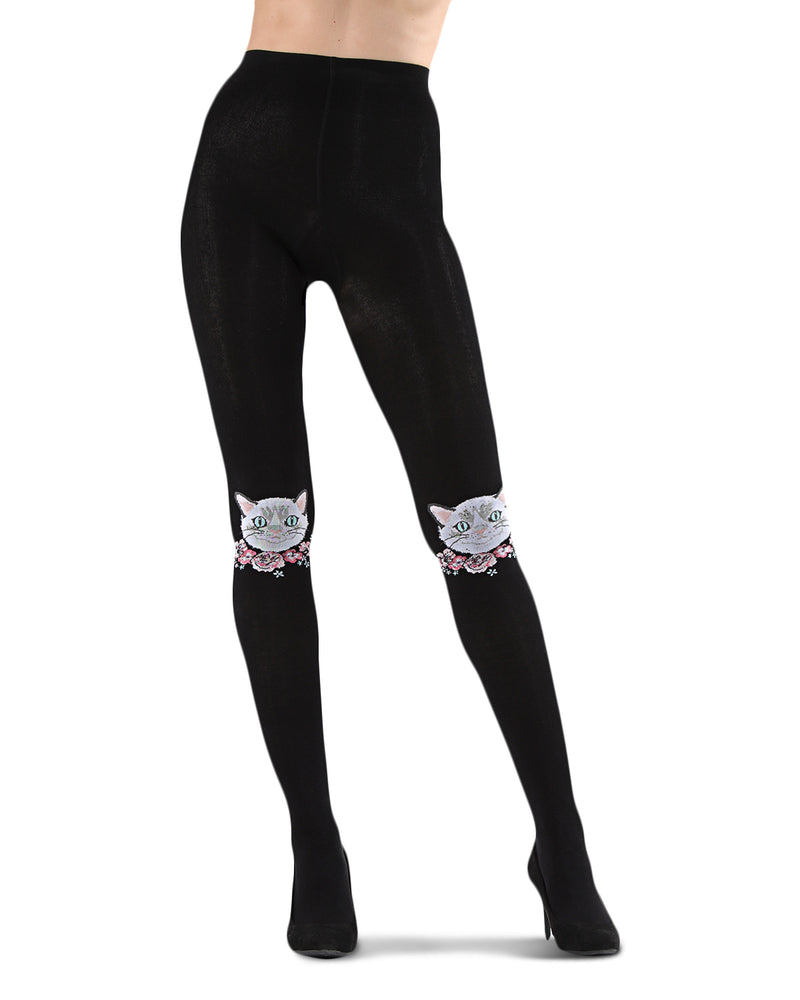 Cat Face Sweater Tights | Socks By MeMoi®  | MTF05373 | Black