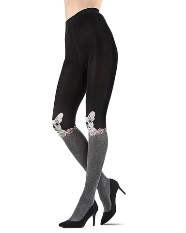 Cat Face Sweater Tights | Tights By MeMoi®  | MTF05374 | Black/Charcoal