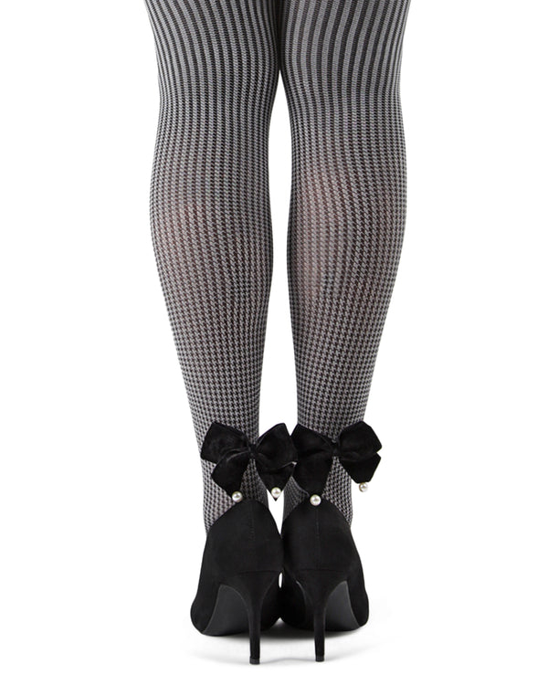 Houndstooth Pearl Bow Opaque Tights| Tights by MeMoi | MTF05377 | Black 2