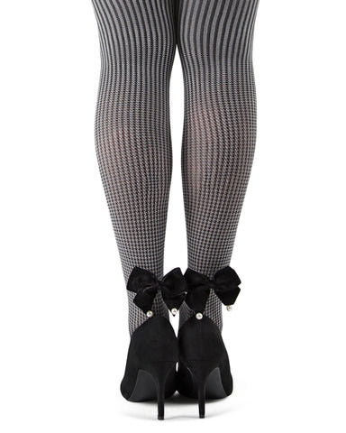 Houndstooth Pearl Bow Opaque Tights| Tights by MeMoi | MTF05377 | Black