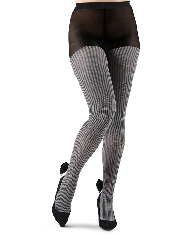 Houndstooth Pearl Bow Opaque Tights