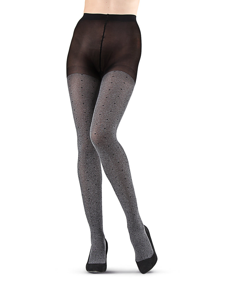 Static Pindot Opaque Tights | Black Fashion Opaque tights for Women | Womens Pantyhose |  MTF05378 - Grey Heather - 2
