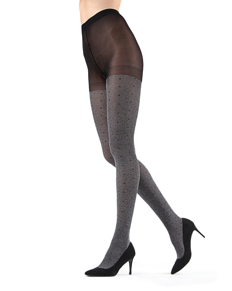 Static Pindot Opaque Tights | Black Fashion Opaque tights for Women | Womens Pantyhose |  MTF05378 - Grey Heather - 3