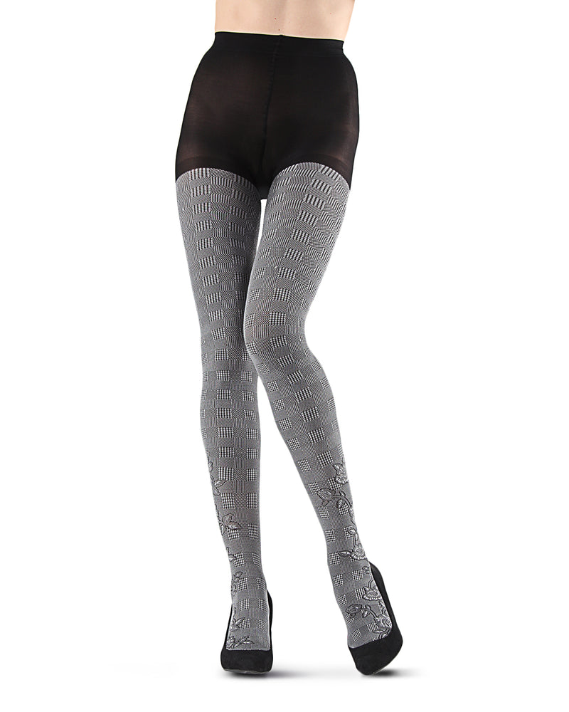 Houndstooth Rose Opaque Tights | Grey Fashion Opaque Tights for Women | MeMoi Womens Pantyhose |  MTF05379 - Black / Grey - 3