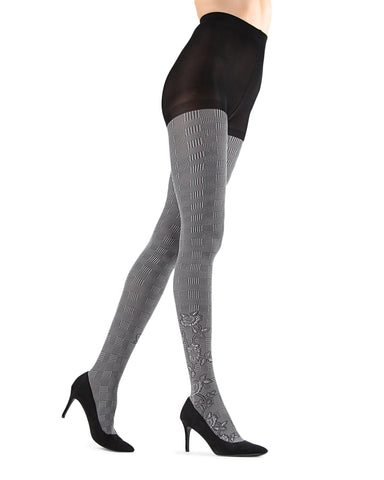 Houndstooth Rose Opaque Tights | Grey Fashion Opaque Tights for Women | MeMoi Womens Pantyhose |  MTF05379 - Black / Grey - 1