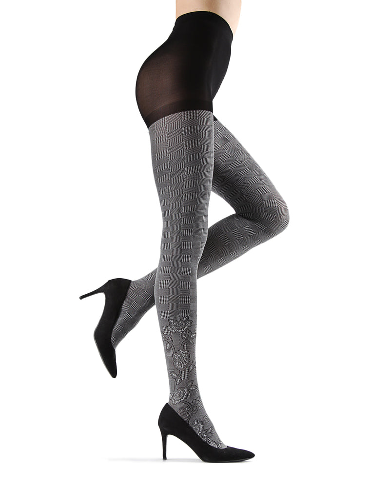 Houndstooth Rose Opaque Tights | Grey Fashion Opaque Tights for Women | MeMoi Womens Pantyhose |  MTF05379 - Black / Grey - 2
