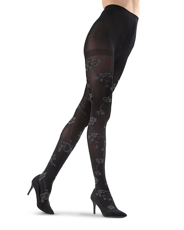 Wild Floral Opaque Tights | Black Fashion Opaque Tights for Women | MeMoi Womens Pantyhose |  MTF05382 - Black - 2