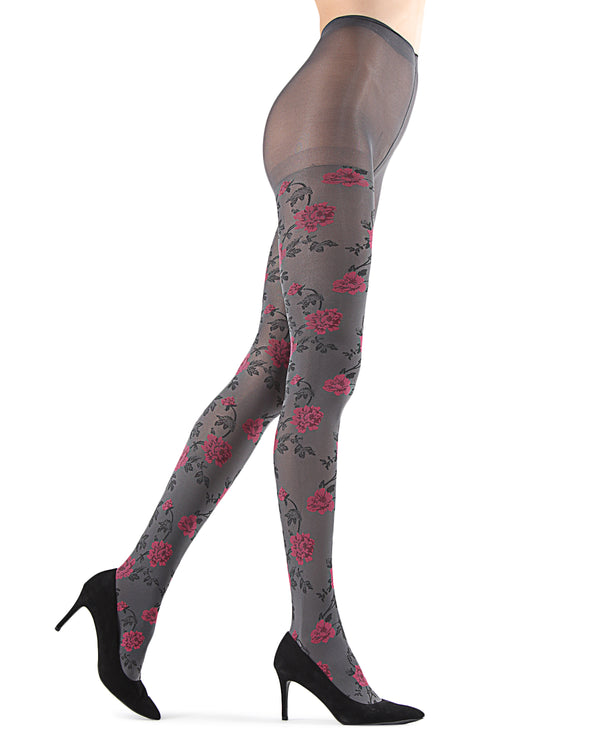 Flower Pop Opaque Tights | Grey Fashion Opaque Tights for Women | MeMoi Womens Pantyhose |  MTF05381 - Medium Grey - 2