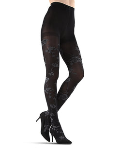 Wild Floral Opaque Tights | Black Fashion Opaque Tights for Women | MeMoi Womens Pantyhose |  MTF05382 - Black - 1
