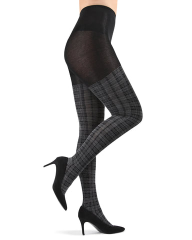 Faded Plaid Sweater Tights | Sweater Tights by MeMoi | MTF05384 | Dark Gray Heather 2
