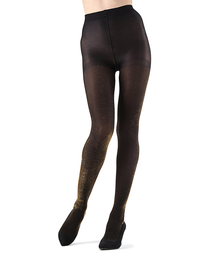 Liquid Metal Opaque Tights | Fashion tights for Women | womens clothing |  MTF05537-00014 black/gold -4