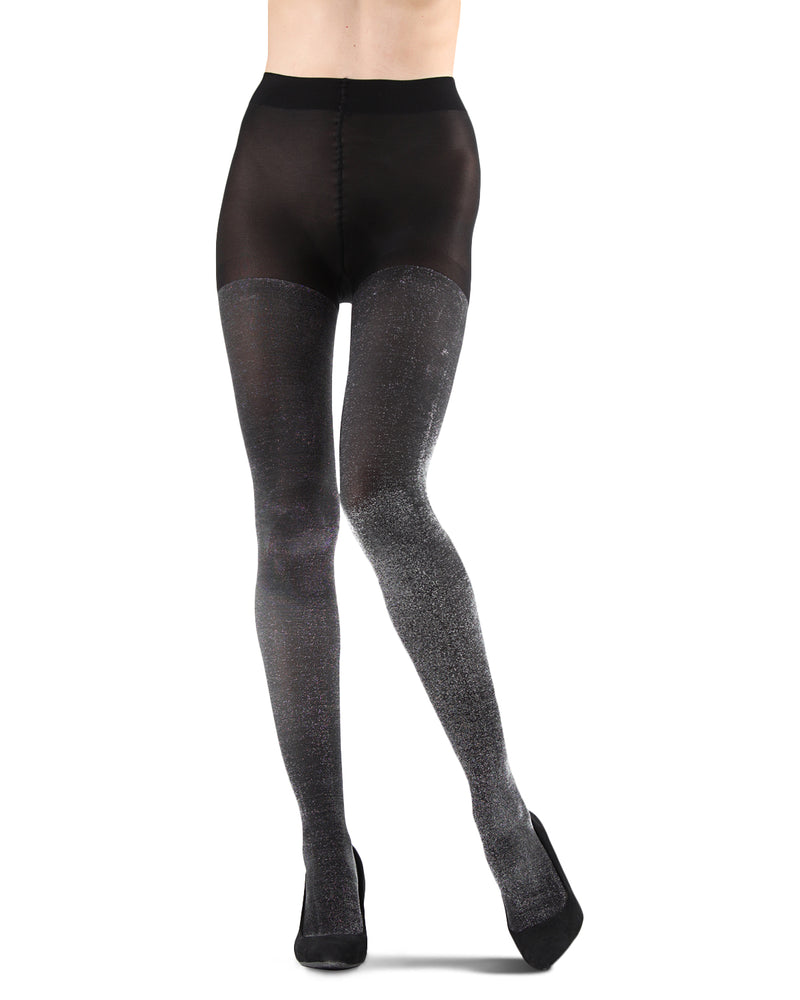 Liquid Metal Opaque Tights | Fashion tights for Women | womens clothing |  MTF05537- black/silver -2