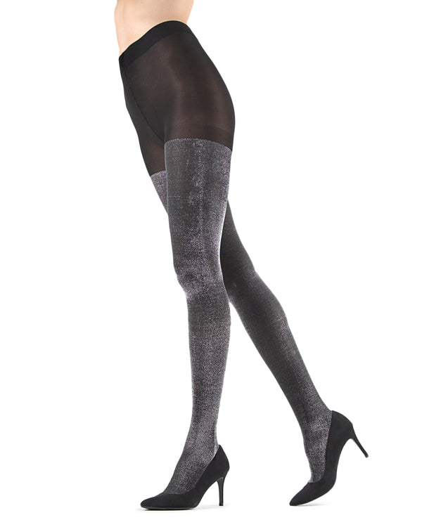 Liquid Metal Opaque Tights | Fashion tights for Women | womens clothing |  MTF05537- black/silver -1
