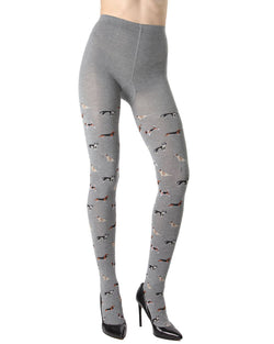 MeMoi Dog Walker Sweater Tights | Women's Fashion Hosiery - Pantyhose - Nylons Collection (Front) | Med Gray Heather MTK02212