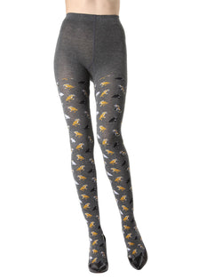 MeMoi Pretty Kitties Sweater Tights | Women's Novelty Hosiery - Pantyhose - Nylons Collection (front) | Dark Gray Heather MTK02213