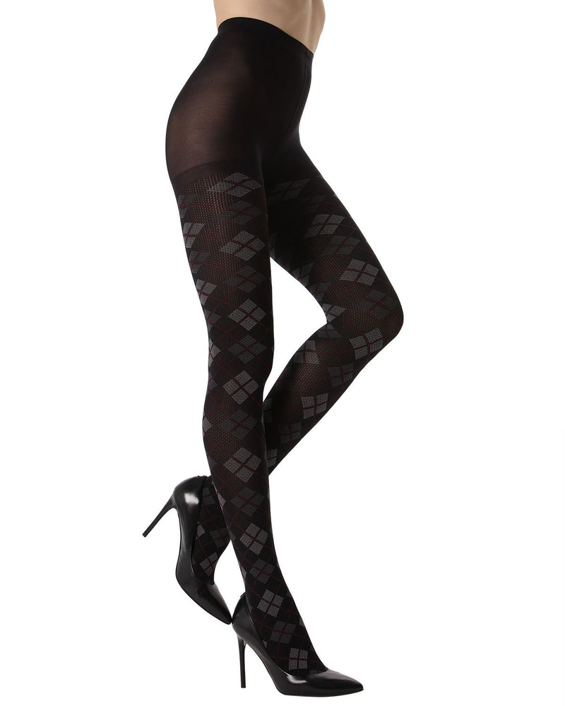 MeMoi Argyle Opaque Tights | Women's Fashion Hosiery - Pantyhose - Nylons Collection (side) | Black MTO02205