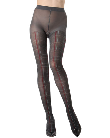 MeMoi Pretty in Plaid Opaque Tights |MeMoi Women's Fashion Hosiery - Pantyhose - Nylons Collection | Women & Girls | Dark Gray MTO02209