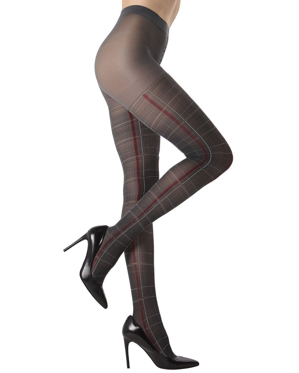 MeMoi Pretty in Plaid Opaque Tights |MeMoi Women's Fashion Hosiery - Pantyhose - Nylons Collection (side) | Women & Girls | Dark Gray MTO02209