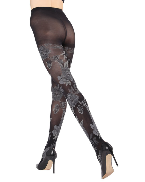 MeMoi Fields of Flowers Opaque Tights | Women's Fashion Hosiery - Pantyhose - Nylons Collection (rear) | Black MTO02210