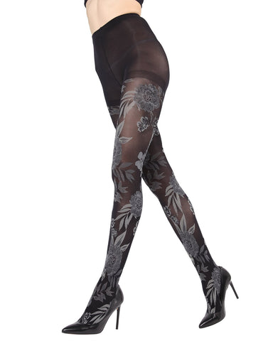 MeMoi Fields of Flowers Opaque Tights | Women's Fashion Hosiery - Pantyhose - Nylons Collection | Black MTO02210