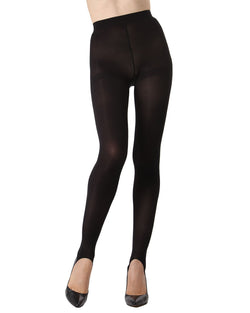 MeMoi Stirrup Opaque Tights | Women's Fashion Hosiery - Pantyhose - Nylons Collection (front) | Black MTO02211
