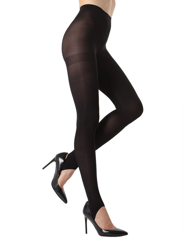 MeMoi Stirrup Opaque Tights | Women's Fashion Hosiery - Pantyhose - Nylons Collection (Side) | Black MTO02211