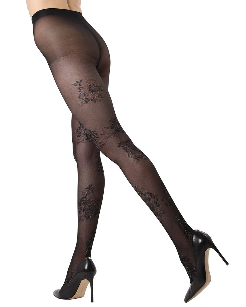 MeMoi Lurex Floral Sheer Tights | Women's Fashion Hosiery - Pantyhose - Nylons Collection (side2) | Black MTS02232