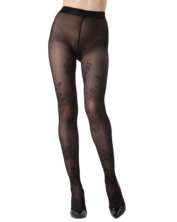 MeMoi Lurex Floral Sheer Tights | Women's Fashion Hosiery - Pantyhose - Nylons Collection (front) | Black MTS02232