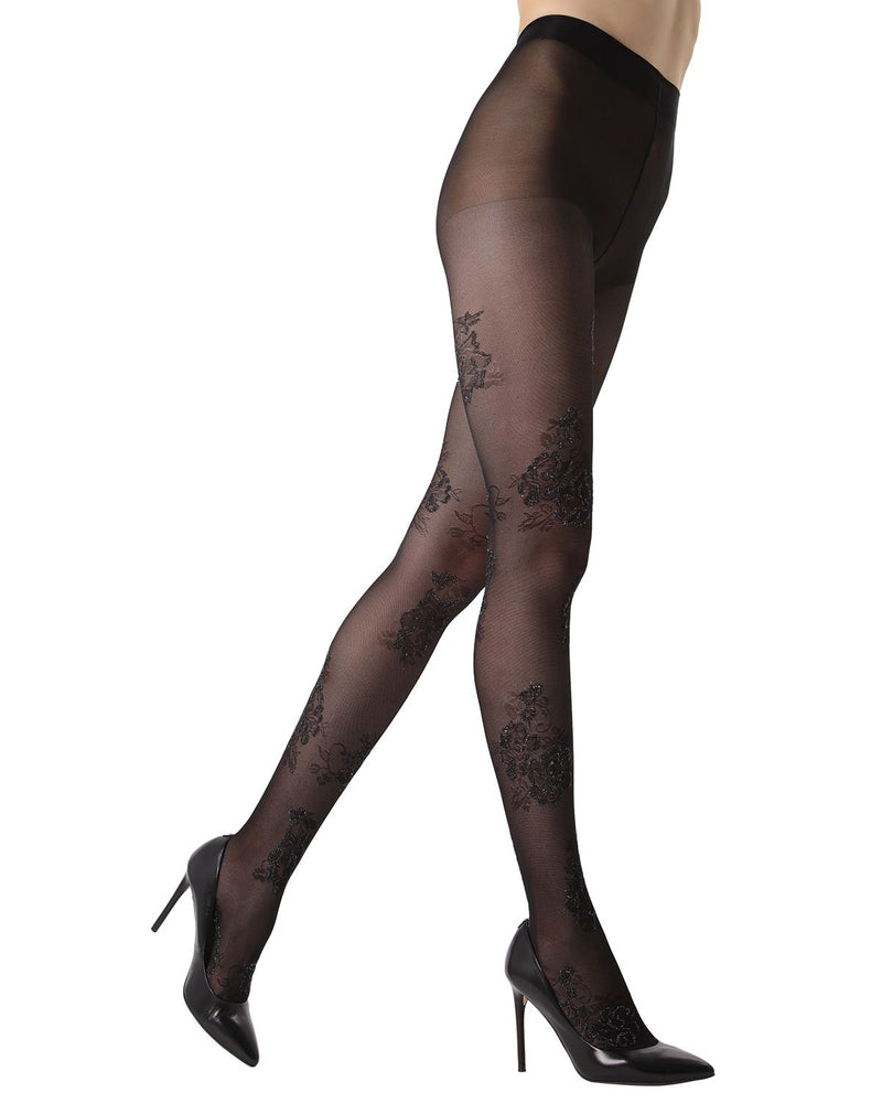 MeMoi Lurex Floral Sheer Tights | Women's Fashion Hosiery - Pantyhose - Nylons Collection (side1) | Black MTS02232