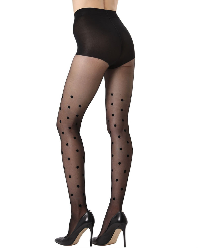 MeMoi Dot Flocked Sheer Tights | Women's Fashion Hosiery - Pantyhose - Nylons Collection (Rear) | Black MTS02234