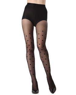 MeMoi Dot Flocked Sheer Tights | Women's Fashion Hosiery - Pantyhose - Nylons Collection (Front) | Black MTS02234